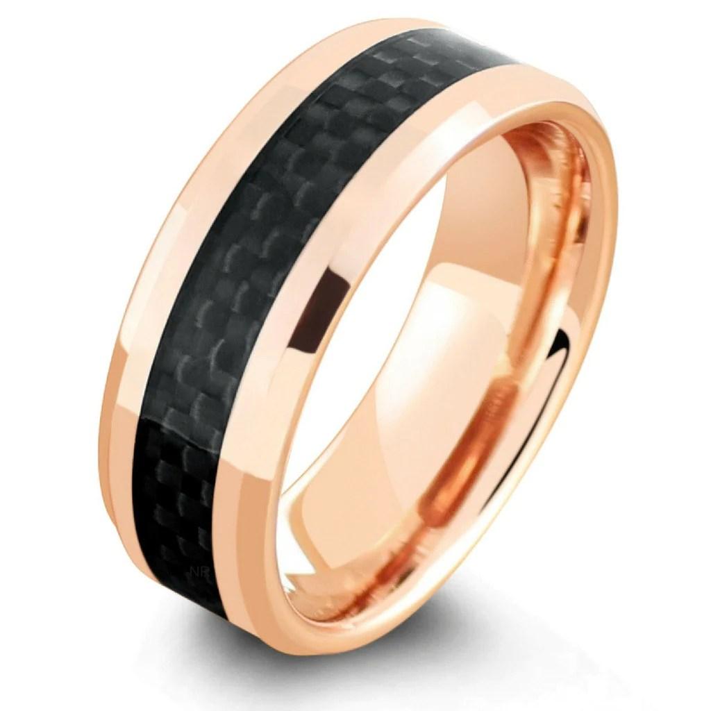 carbon fiber rings carbon fiber wedding bands 18K Rose Gold Wedding Ring With Black Carbon Fiber Inlay