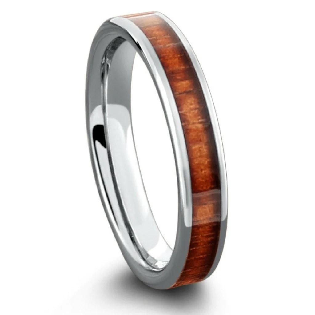 wooden wedding bands mens Rings Wooden Rings Fiji Orange Wood Inlay Men Wedding