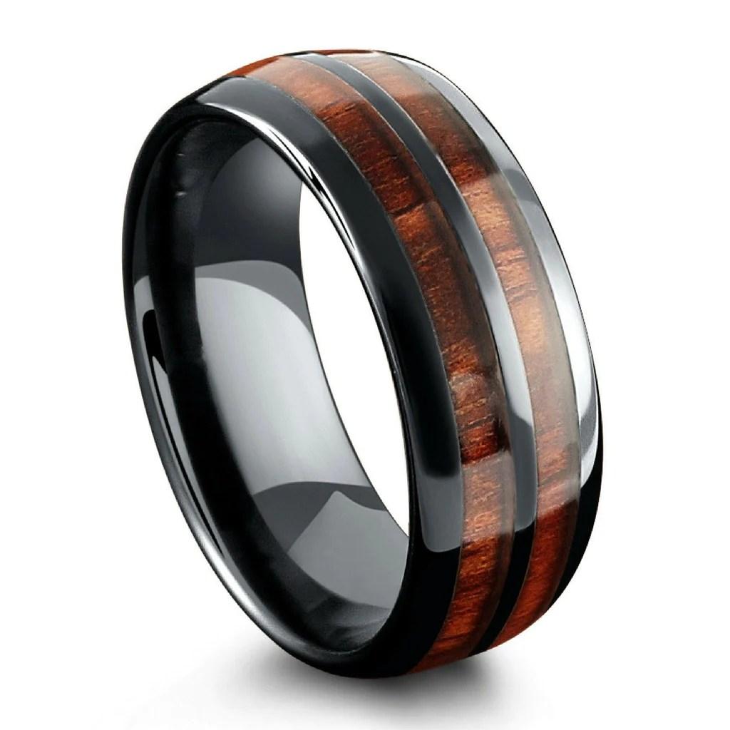 northernroyal wooden wedding bands mens The Barrel Ceramic Koa Wood Wedding Ring Mens Wood Wedding Ring