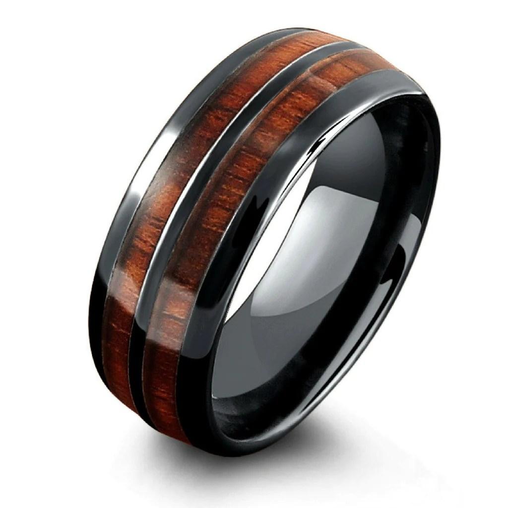 barrel ceramic koa wood ring wooden wedding bands mens The Barrel Ceramic Koa Wood Wedding Ring
