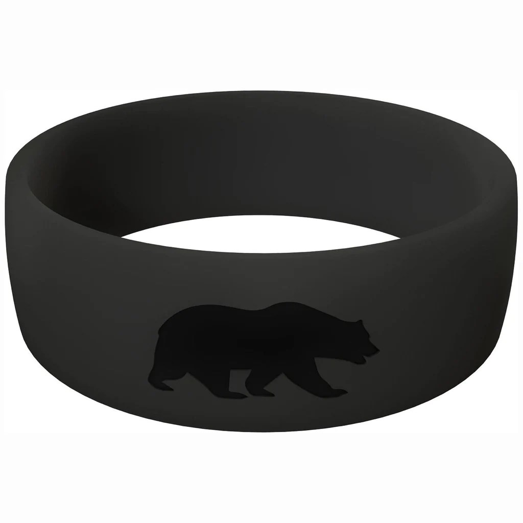 grizzlyrings mens silicone wedding band Men s Black Athletic Ring
