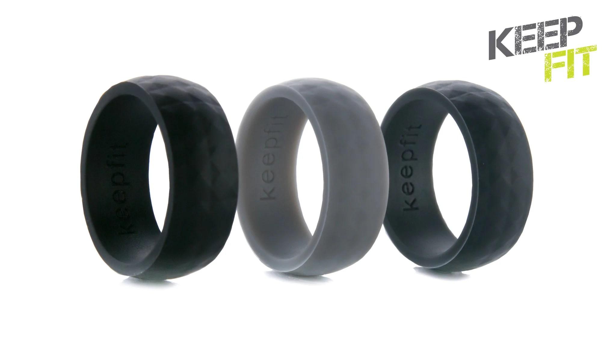 rock climbing ring mens rubber wedding bands Men s Silicone Wedding Ring Modern Design Pebble Grey