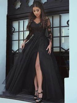 Radiant Black A Line Long Sleeves Lace Prom Black Lace Formal Eveningdress Black A Line Long Sleeves Lace Prom Black Lace Formal Dress Long Sleeve Lace Dresses Juniors Long Sleeve Lace Dress Short