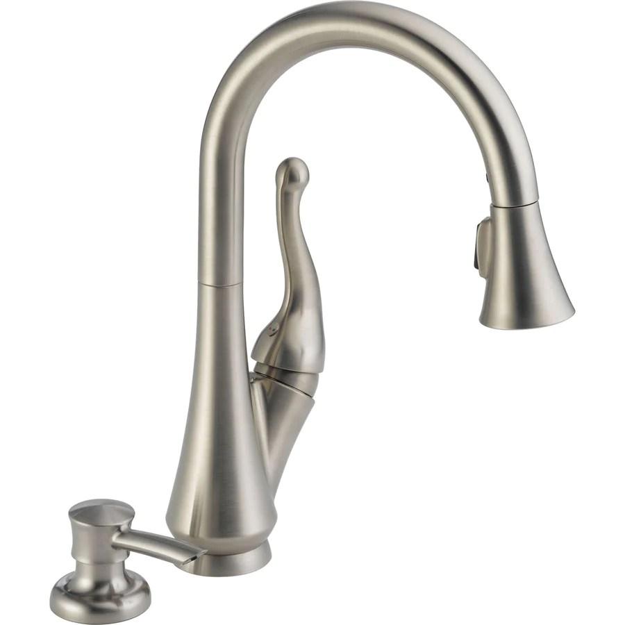 kitchen faucet with soap dispenser delta linden kitchen faucet Delta 1 Handle Pull Down Kitchen Faucet w Soap Dispenser in Stainless