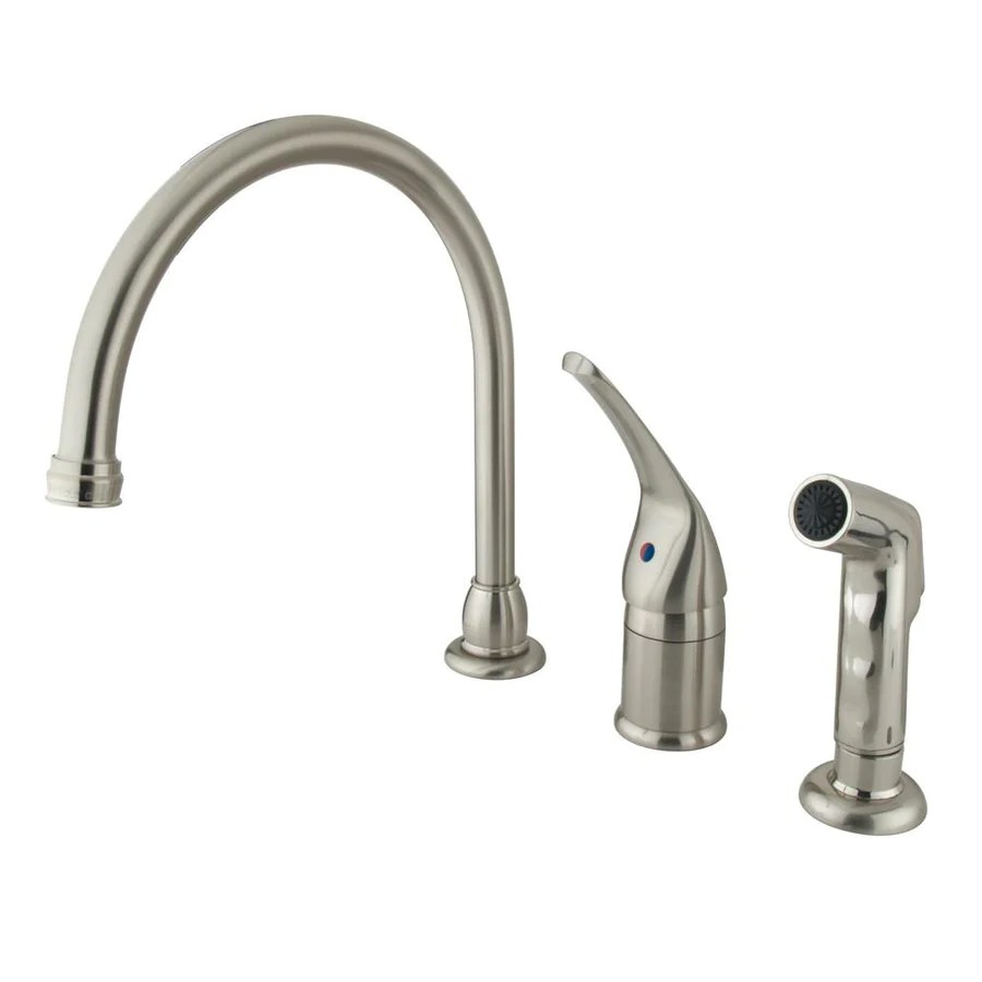 3 hole kitchen faucets widespread kitchen faucet Kingston Brass Satin Nickel Widespread Kitchen Faucet w Brass Sprayer KB