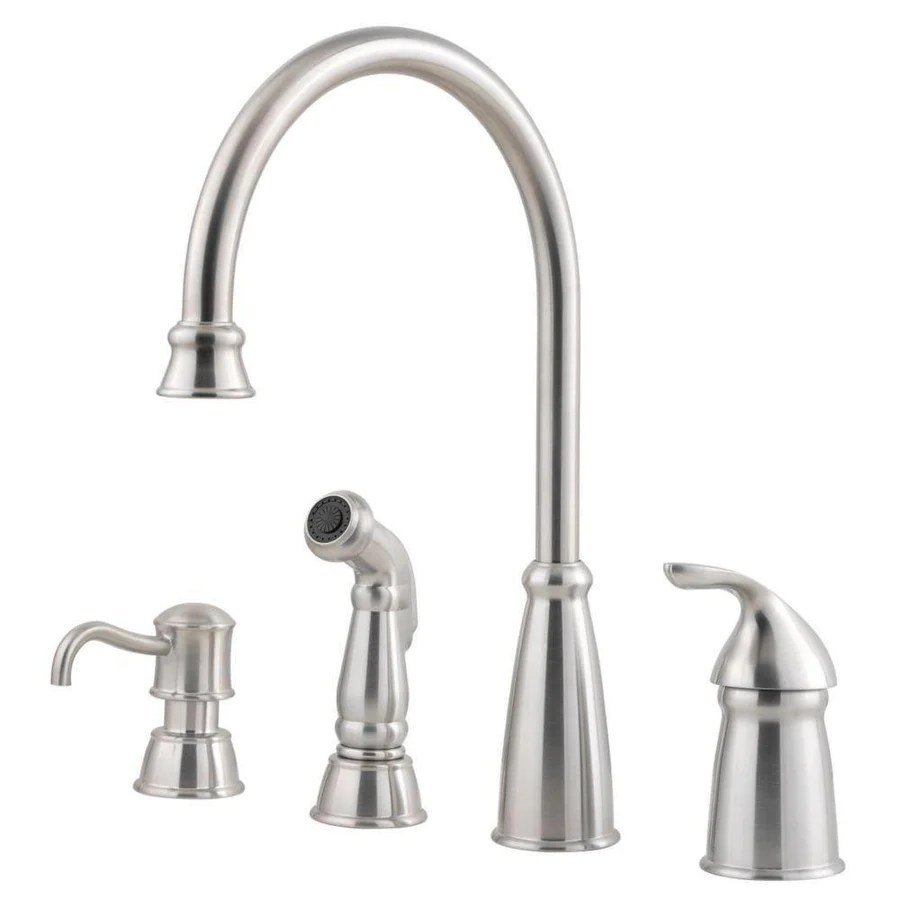 price pfister pfister kitchen faucet Price Pfister Avalon Single Handle Kitchen Faucet with Sidespray and Soap Dispenser in Stainless Steel
