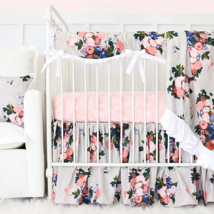 Riveting Taupe Floral Baby Girl Crib Bedding Set Baby Girl Crib Bedding Caden Lane Crib Bedding Girls Target Girls Crib Bedding baby Crib Bedding For Girls