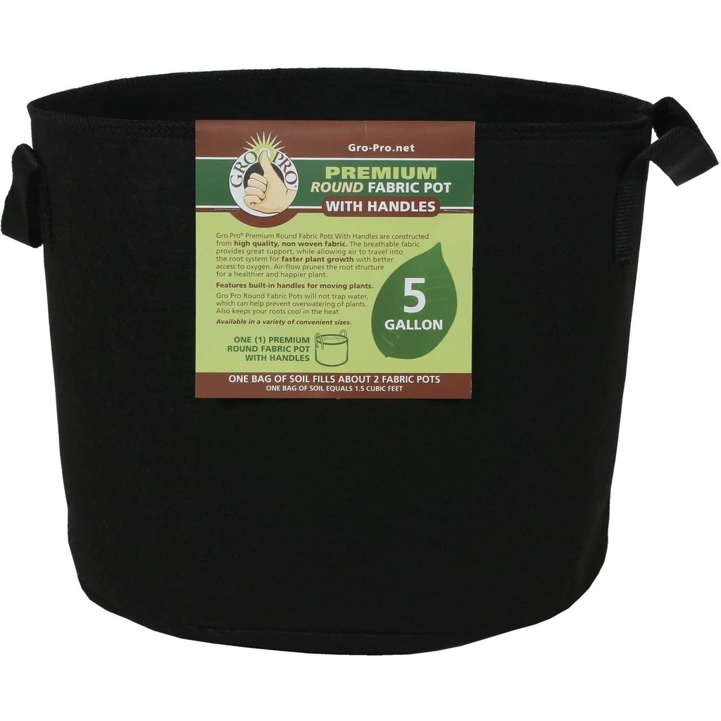 Witching Gro Pror Premium Round Fabric Pot Handles Black 5 Gal Brand Pro Price 0 00 99 Containers Grow Bags Garden Supply Guys Discount Hydroponics Gardening 186 1024x1024 houzz 01 5 Gallon Pot