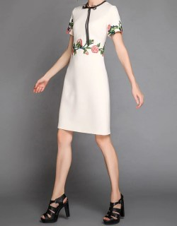 First Short Sleeve Embroidered Tailored Dress Short Sleeve Embroidered Tailored Dress Colours Mid Length Dresses Petites Mid Length Dresses Formal