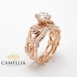 Double Diamond Promise Rings Rose G Ring Set Real Diamond Engagementrings Wedding Gift Diamond Promise Rings Rose G Ring Set Real Diamond Rose G Promise Rings South Africa Rose G Promise Ring Etsy
