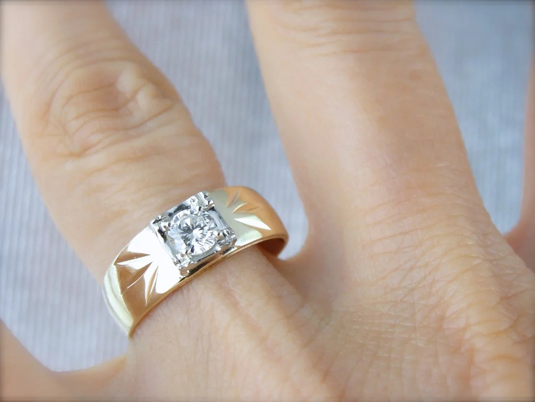wide diamond engagement ring wedding band combination lovely vintage all in one ring wide band wedding rings Wide Diamond Engagement Ring Wedding Band Combination Lovely Vintage All in one Ring