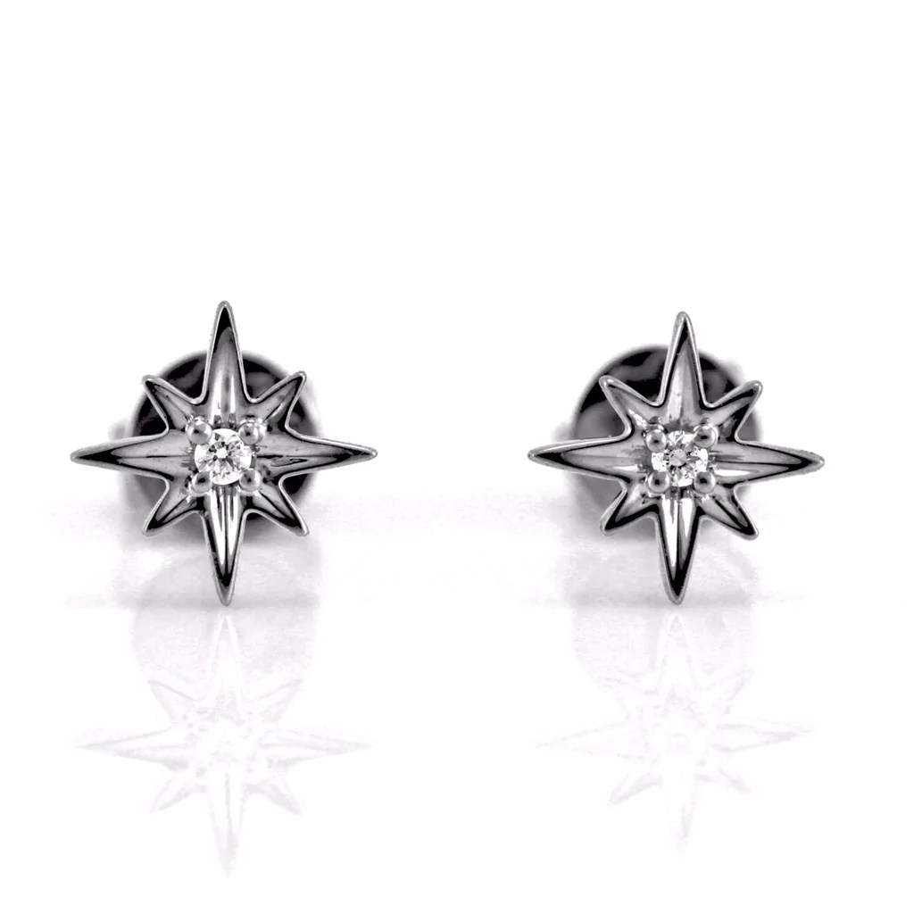 0 03ct Pavé Round Diamond in 14k Gold Mini North Star Stud Earrings