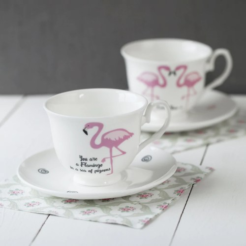 Jolly Message Bone China Cup Saucer View All China Betty Ange Line Tetrault Hidden Animal Teacups Flamingo