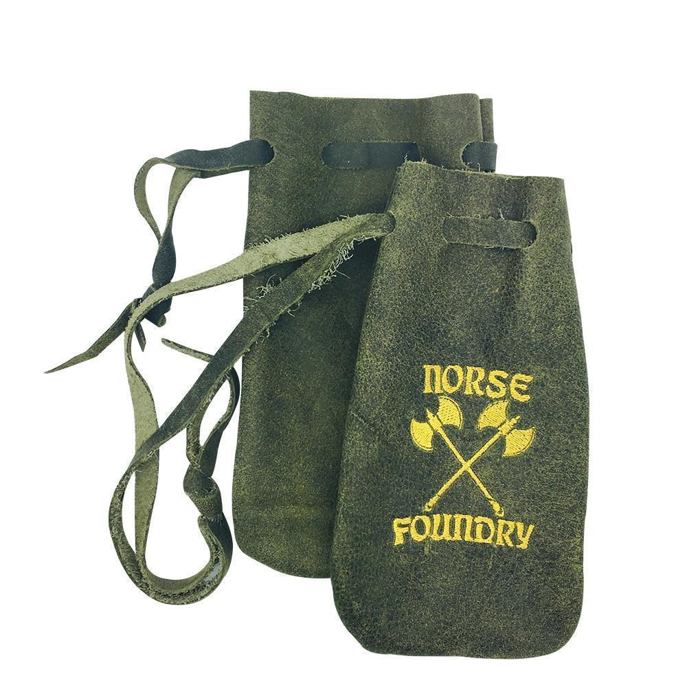 Grey and Black Leather Dice Bag Handmade in The USA Norse Foundry Ravenswood Leather