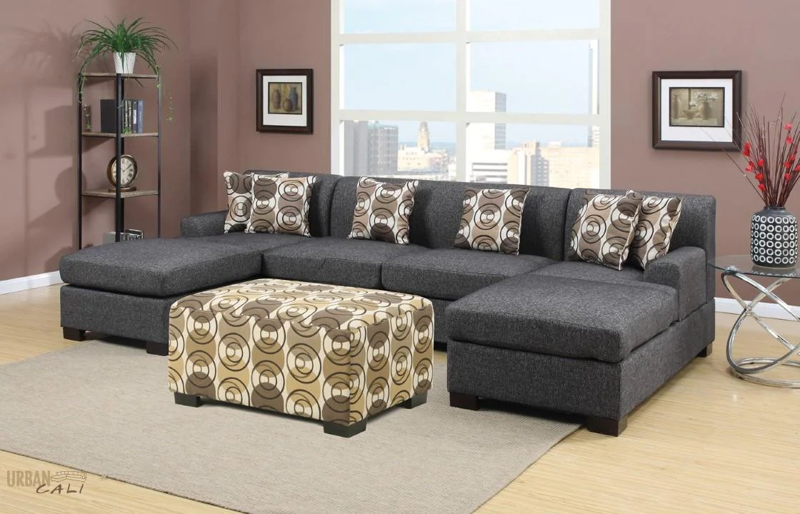 Simple Hayward Ash Black Small Sectional Sofa Set By Urban Cali Hayward Small Linen Sectional Sofa Urban Cali U Shaped Couch Slipcovers U Shaped Couch Pull Out Bed houzz-03 U Shaped Couch