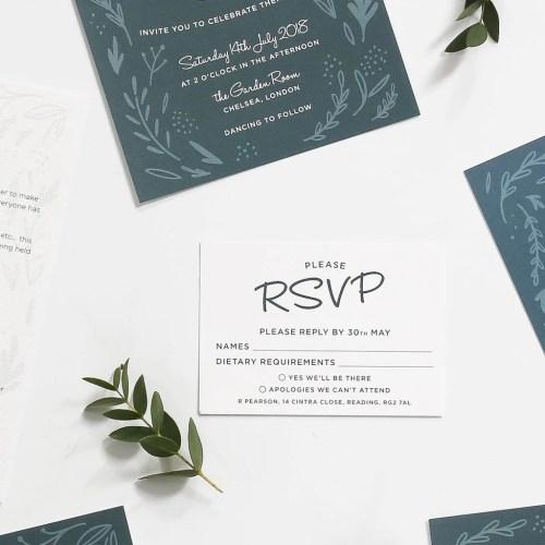 Picture Midnight Hedgerow Wedding Invitation Rsvp Cards Midnight Hedgerow Rsvp Cards Wedding Stationery English Addressing Wedding Rsvp Cards Ny Wedding Rsvp Cards