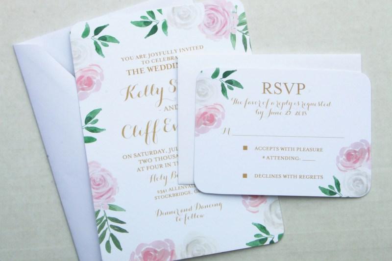 Frantic Mint Kelly Suite Rsvp Insert Floral Wedding Invitation Printed Pink Floral Wedding Floral Wedding Invitation Printed Pink Floral Blush Pink