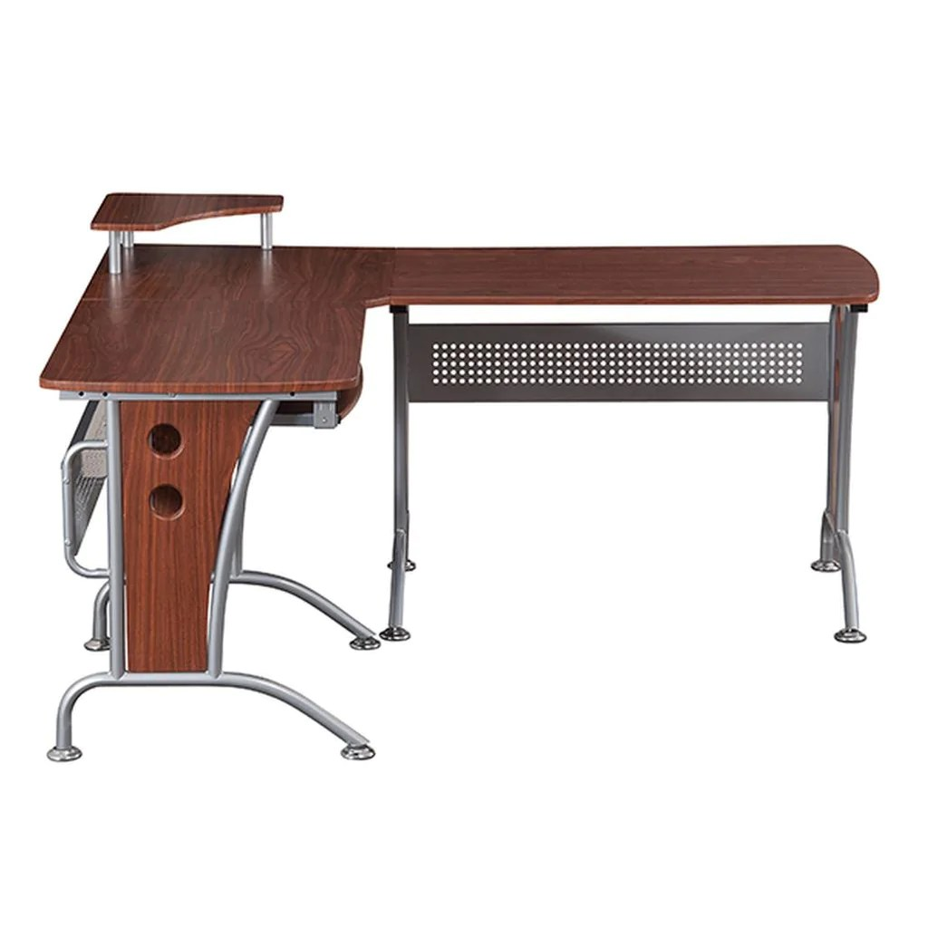 Indoor Computer Desk Left Return Pull Out L Shaped Computer Desk Monitor Platform L Shaped Computer Desk Pull Out Keyboard Panel Techni Mobili Computer Desk houzz-03 L Shaped Computer Desk