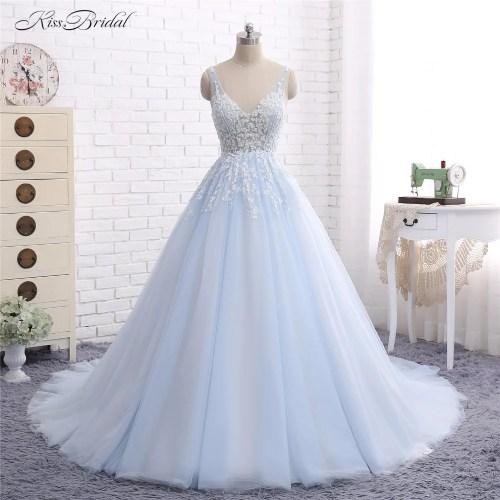 Medium Crop Of Light Blue Wedding Dress