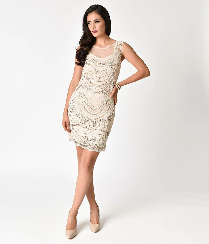 Artistic 1920s Style Light Beige G Beaded Illusion Cocktail Dress 1024x1024 G Cocktail Dress Philippines G Cocktail Dress Size 16 wedding dress Gold Cocktail Dress
