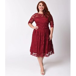 Bodacious Plus Size Rose Wine Red Luna Lace Half Sleeve Swing Dress Long Sleeves Red Lace Dress Express Size Rose Wine Red Luna Lace Half Sleeve Swing Dress Red Lace Dress