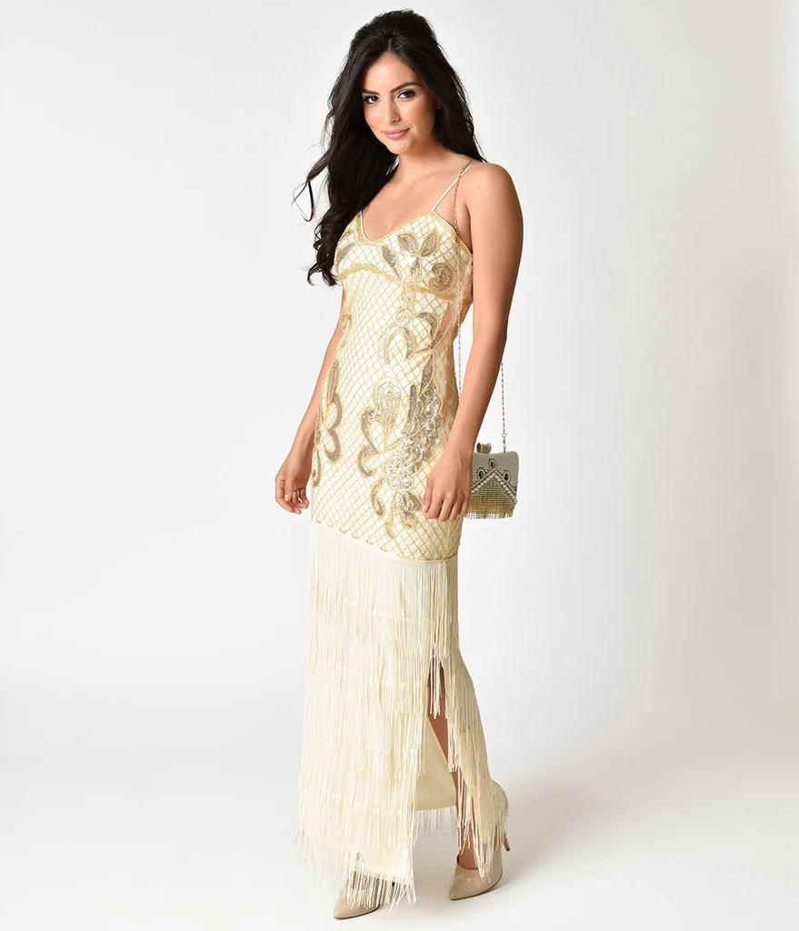 Charming Vintage Style Beige G Beaded Sexy Fringe Long Cocktail Dress 3 1024x1024 G Cocktail Dress Cheap G Cocktail Dress Uk wedding dress Gold Cocktail Dress