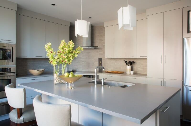 Gray kitchen with eat-in island