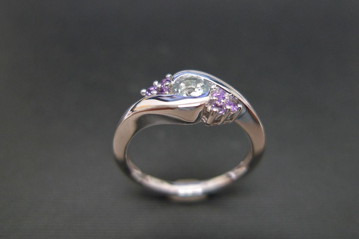 aquamarine and amethyst ring aquamarine wedding rings Aquamarine and Amethyst Ring product images of