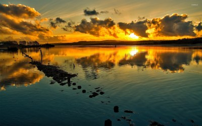 Sunset over the lake wallpaper - Nature wallpapers - #17540