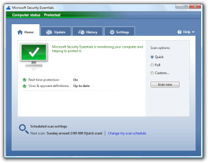 Microsoft Security Essentials Software Home
