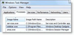 sidebar.exe in windows 7 task manager