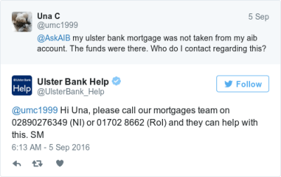 Ulster Bank customers report mortgage direct debit problems