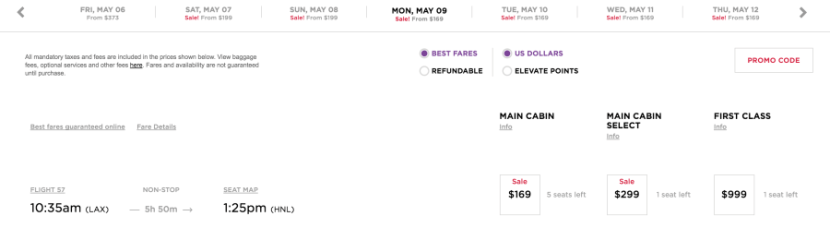 Example one-way fares from LAX to HNL from $169, including taxes and fees.