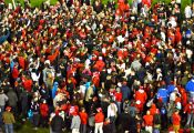 A mob of Stony Brook students rush the field after the Seawolves football team defeated the Liberty Flames 41-31 to earn their first Big South Conference Championship in school history and advance to the NCAA FCS tournament. Photo by Jordan Gibbons