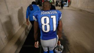 DETROIT, MI - DECEMBER 27: Calvin Johnson #81 of the Detroit Lions walks off the field after defeating the San Francisco 49ers 32-17 at Ford Field on December 27, 2015 in Detroit, Michigan. (Photo by Gregory Shamus/Getty Images)