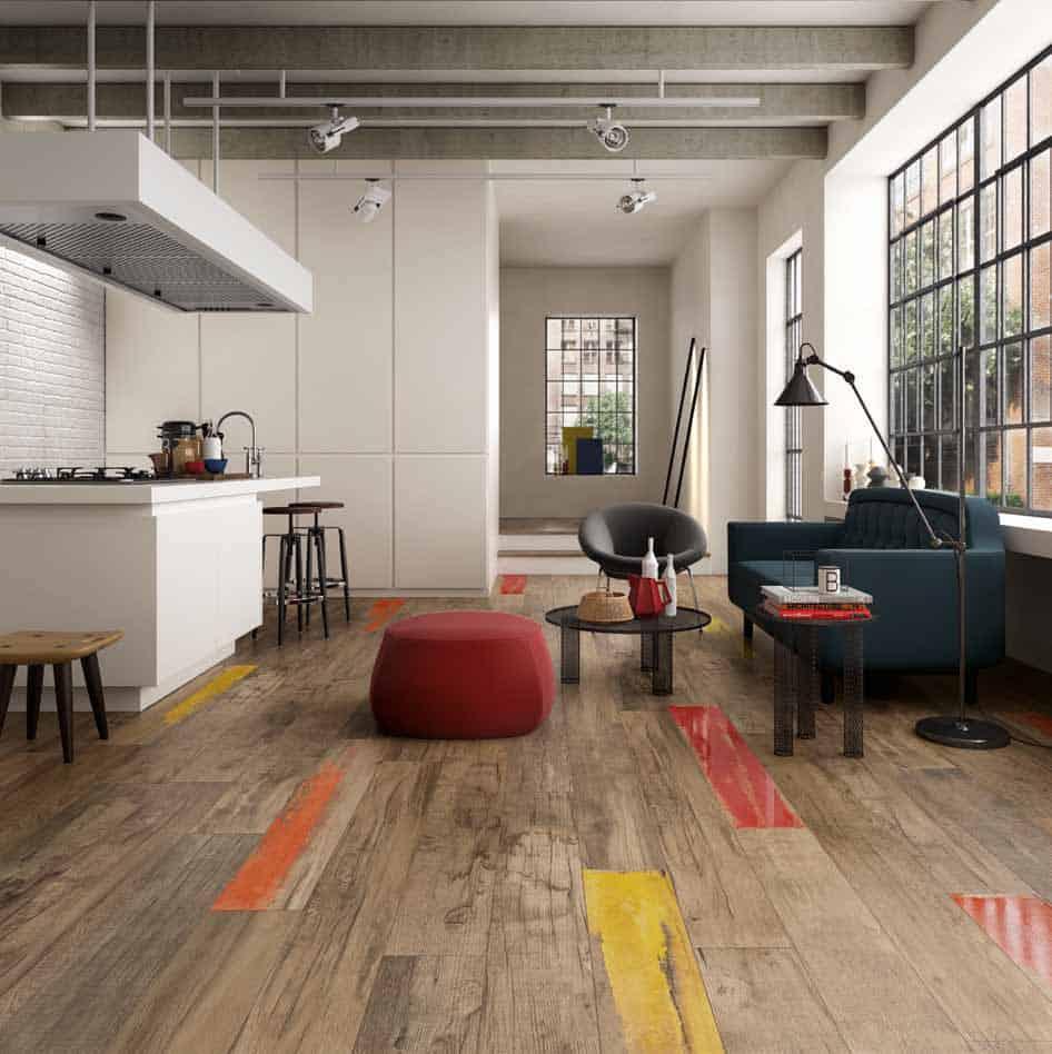 wood look tiles kitchen wood floors View in gallery weathered wood look porcelain tile kitchen floor abk
