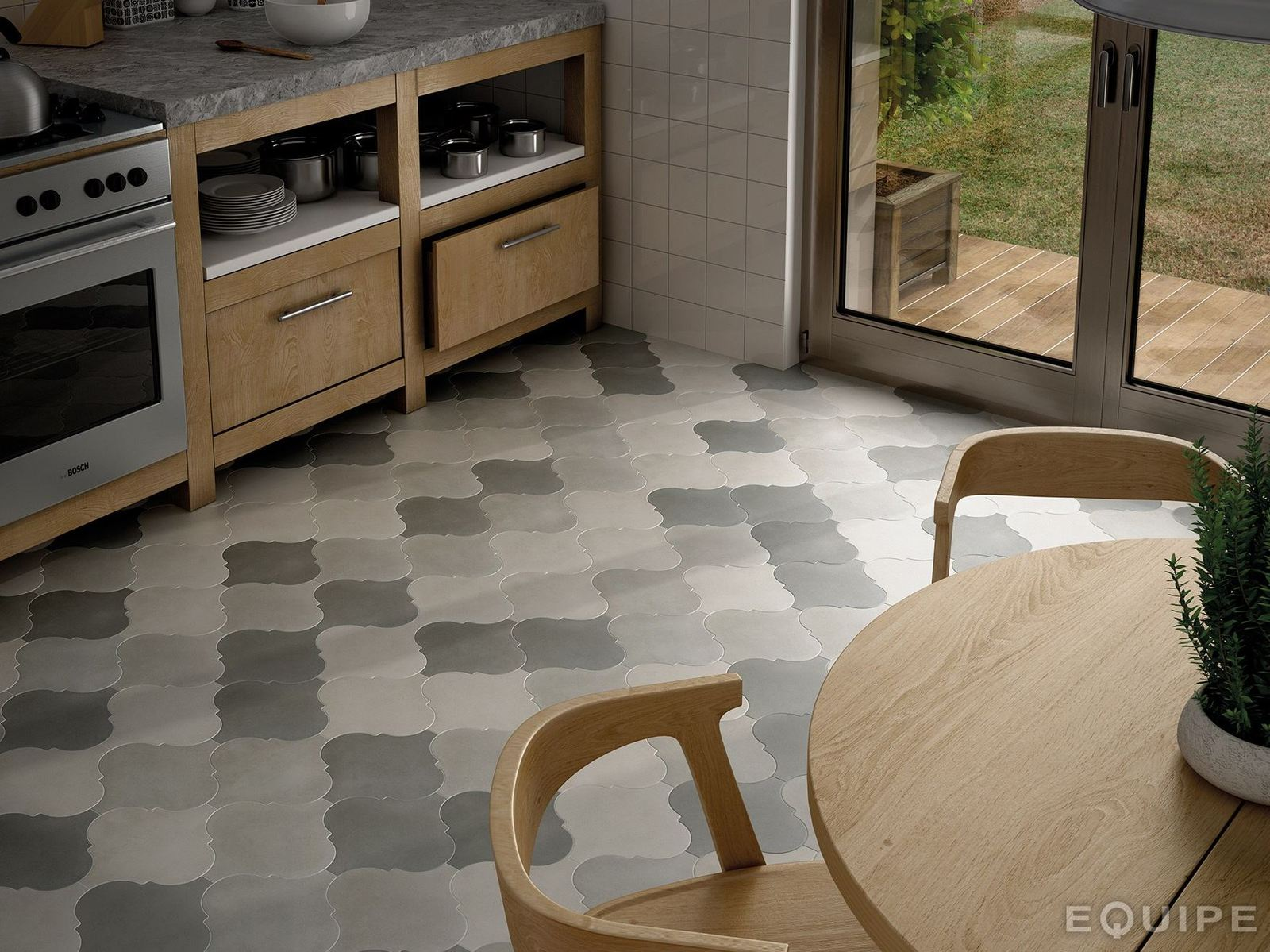 21 arabesque tile ideas for floor wall and backsplash kitchen tile flooring View in gallery arabesque tile floor kitchen grey 9