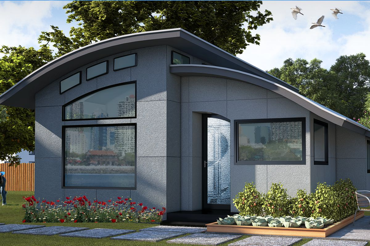 Prefab Flex House comes tricked out with smart home features   Curbed A rendering of the Flex House  Green Builder Media