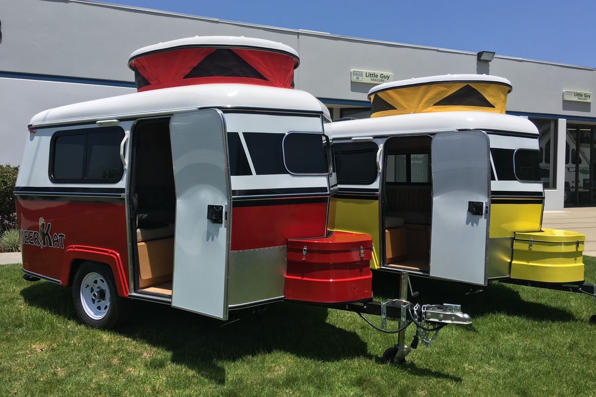 Dark Meerkat Made By Little Guy Trailers Sourn Little Guy Trailers Tiny Meerkat Camper Can Be Towed By Almost Any Car Curbed Used Pull Behind Campers Sale By Owner Used Pull Behind Campers Sale Craigs curbed Used Pull Behind Campers Sale