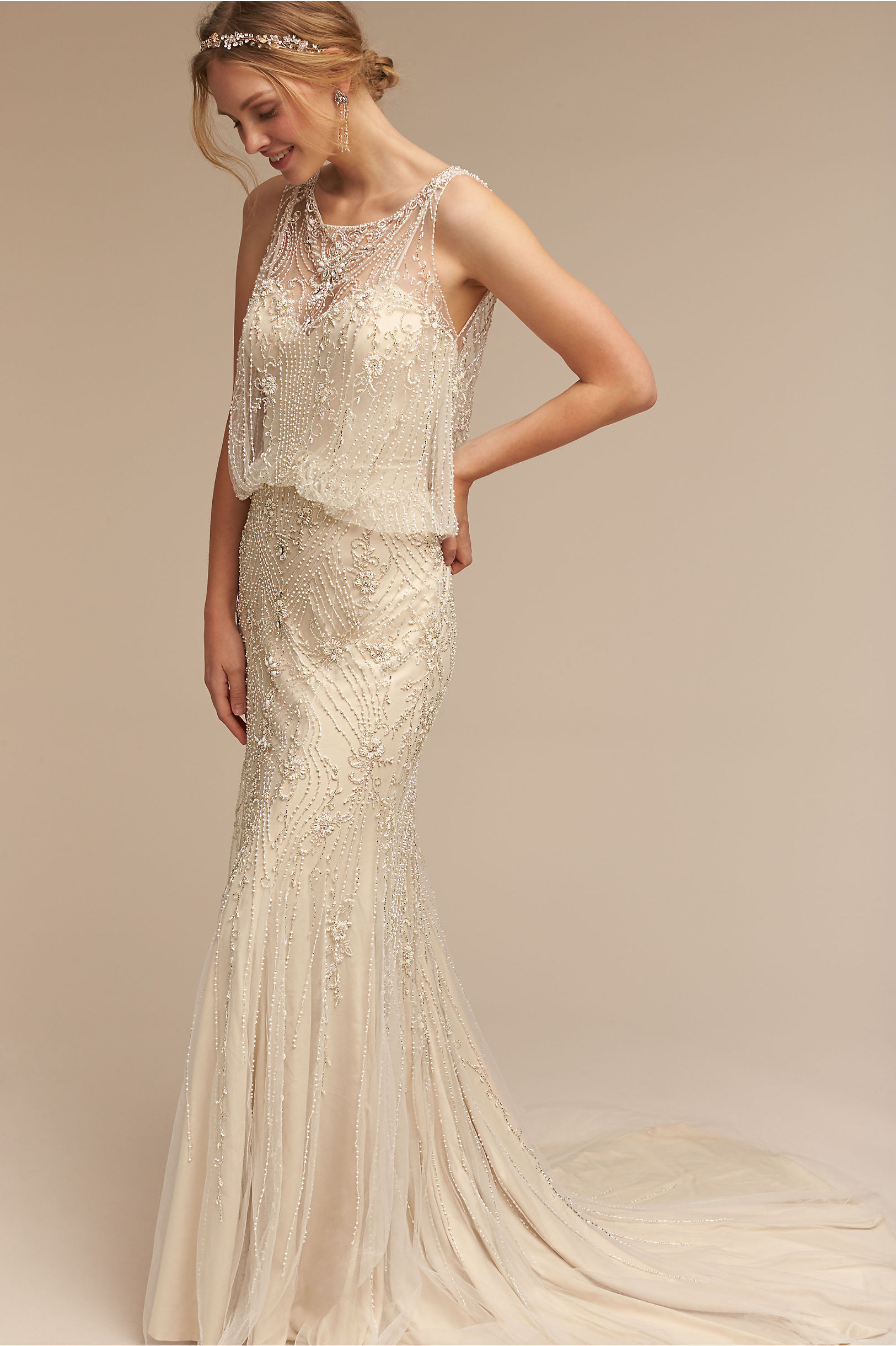 buy wedding dress online wedding gowns A model in a beaded wedding gown