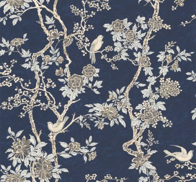 Marlowe Floral by Ralph Lauren - Prussian Blue : Wallpaper Direct