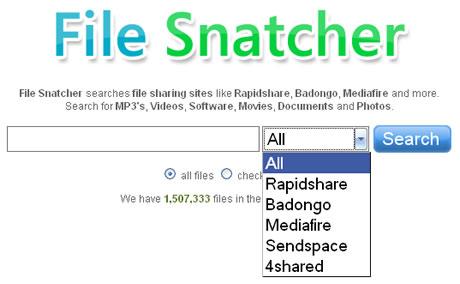 buscar rapidshare descargas Buscar archivos en RapidShare, MediaFire y otros con File Snatcher