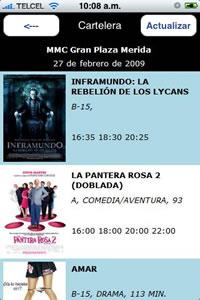 horarios de cine Cartelera de cine en el iPhone