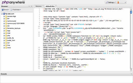 editor php Editor de php online, PHPanywhere