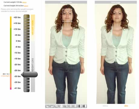 perder peso virtual Perder peso virtualmente en WeightMirror