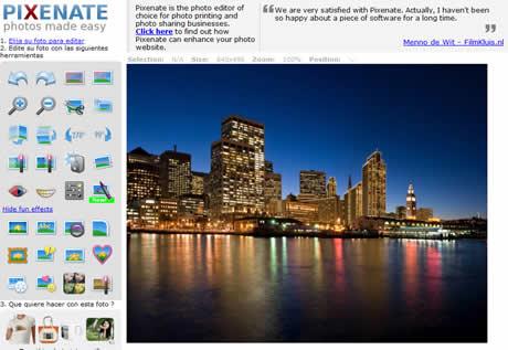 editor de fotos Editar fotos online con Pixenate
