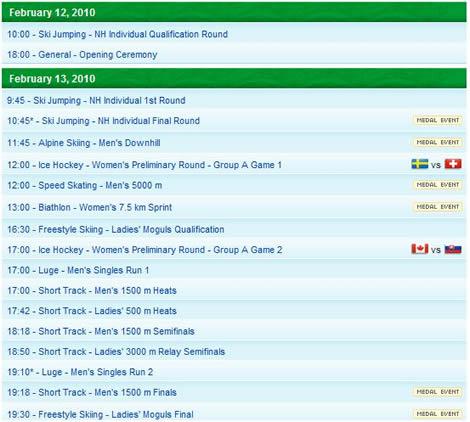 vancouver 2010 calendario Vancouver 2010, calendario y medallero olimpico
