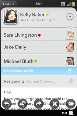 palm webos interfaz emailviewwithcontacts Una laptop Dell que corre con webOS