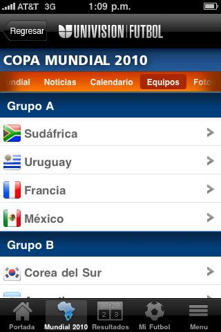univision copa mundial futbol Mundial 2010 en iPhone