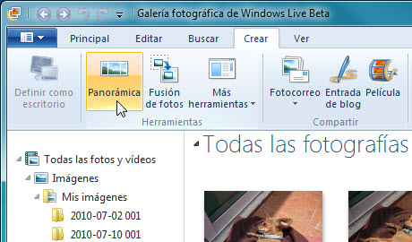 Crear panoramica Galeria fotos de Windows 3 Hacer fotos panorámicas con la galería de Windows Live